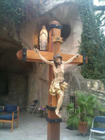 The Oblate Grotto in San Antonio is a duplicate of the Lourdes Grotto and offers Mass