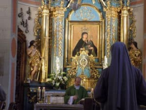 The image of Our Lady of Mercy over the main altar in the Church of St John the Baptist and St John the Evangelist in Krakow