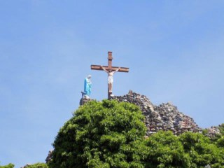 The final climb on the outdoor stations of the cross