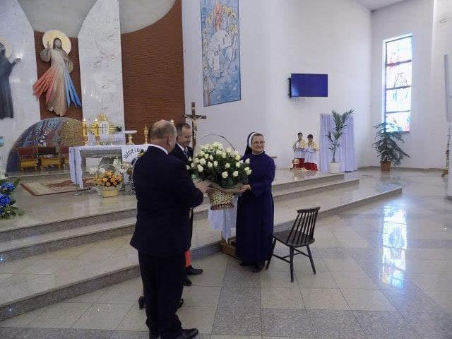 Sister Marie with her bouguet