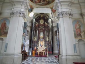 View of the image above the altar