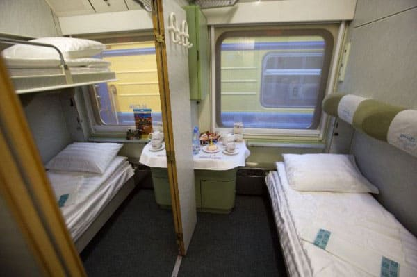 Sleeping accommodations on the Moscow to St. Petersburg train (photo courtesy of RailEurope)