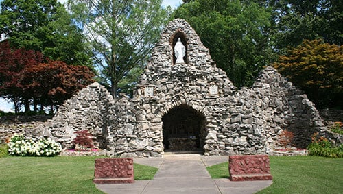 View of the grotto at the Shrine of the Miraculous Medal in Perryville, Missouri
