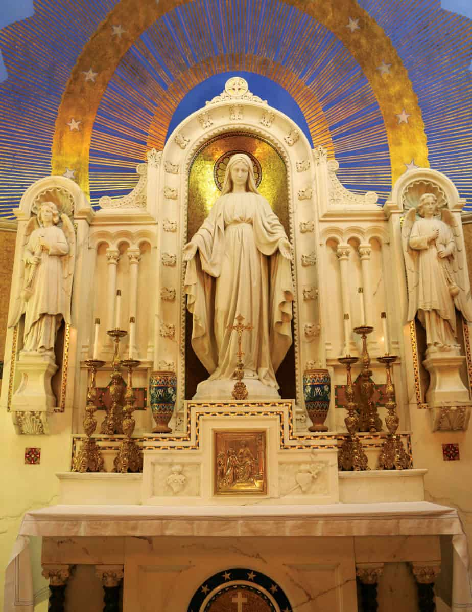 The main altar of the Shrine of the Miraculous Medal in Perryville, Missouri