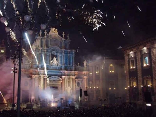 Fireworks cap off the celebration of the Feast of Saint Agatha in Catania in the evening