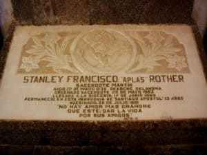 Plaque in the Church of Saint James the Apostle in Atitlan