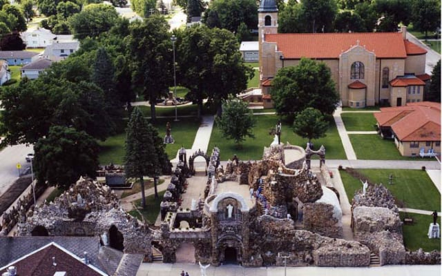 Aerial view of the entrance to the Grotto in West Bend, Iowa