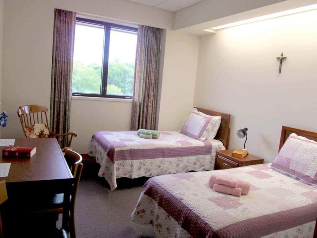 Comfortable bedrooms in the Nazareth Retreat Center