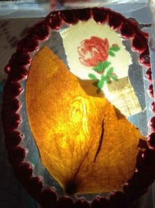 Rose petal with the image of Jesus and Saint Therese in Rhoda Wise House