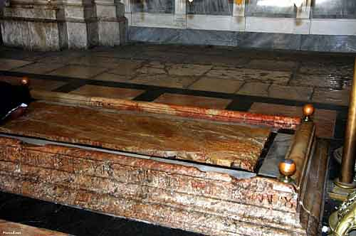The Stone of the annointing in the Church of the Holy Sepulchre