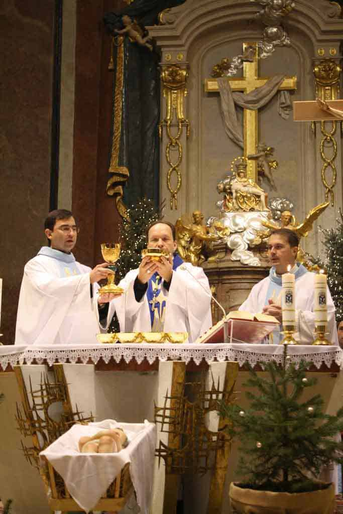 Celebrating Mass on Christmas Day at Our Lady of Sorrows Basilica in Sastin, Slovakia