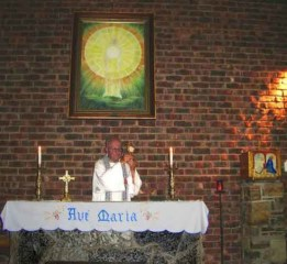 Saying Mass inside the chapel at the Ngome Shrine South Africa