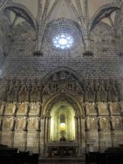 The reliquary containing the Holy Grail is set in the side wall of the Cathedral in Valencia