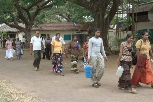 Pilgrims arriving at the Shrine of Our Lady of the Rosary Madhu Sri Lanka