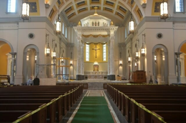 View of the interior of Sacred Heart Cathedral in Knoxville  as construction nears the finish