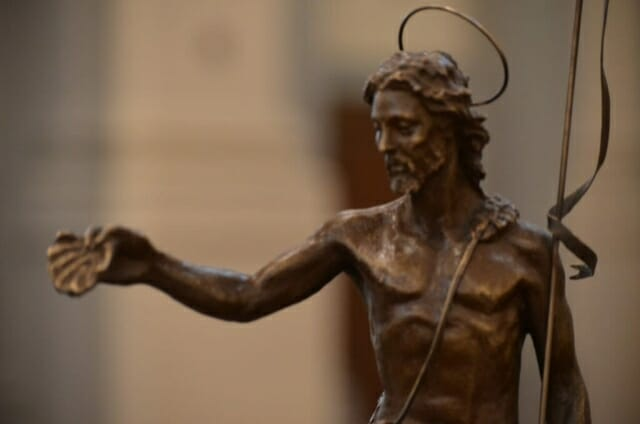 Bronze statue of Jesus in the Cathedral of the Sacred Heart in Knoxville, TN