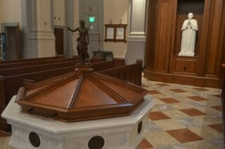 Baptismal font in Sacred Heart Cathedral in Knoxville, Tennessee