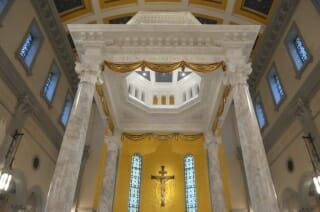 Closer view of the canopy of the altar of Sacred Heart Cathedral in Knoxville, TN