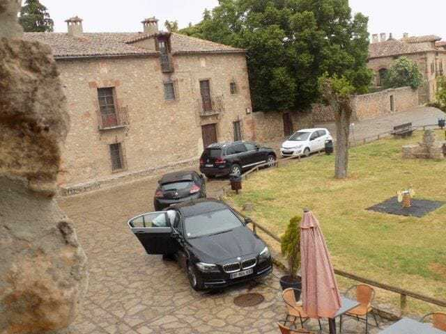 Parking at the monastery in Agreda, Spain