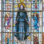 Beautiful stained glass window in Saint Frances Xavier Cabrini Shrine in New York City