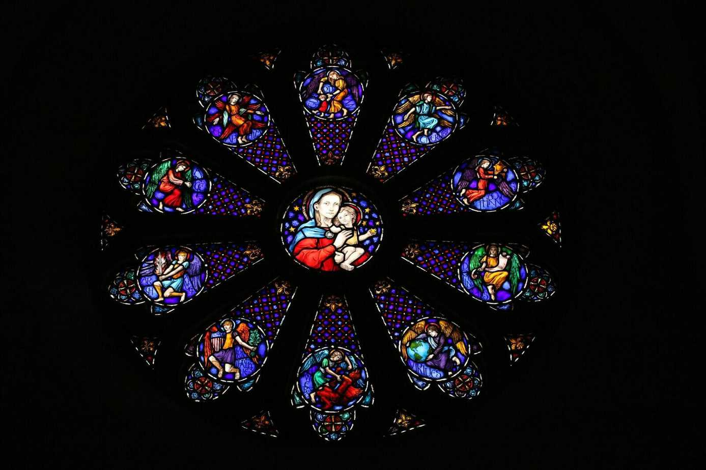 Stained glass window in the Church of St. Jude Fredericksburg, VA