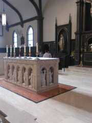 Side view of the altar at St Jude Church Fredericksburg, VA