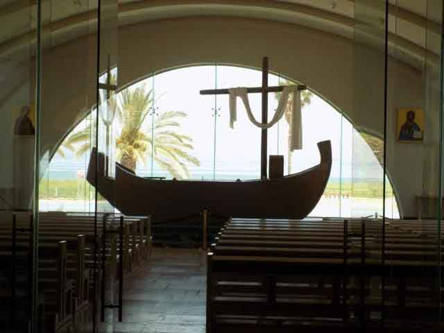 The boat-shaped altar in the Magdala Center in Israel