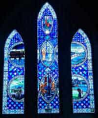 Stained glass window in St Margaret's Shetland commemorating Shetland's ties with the oil industry