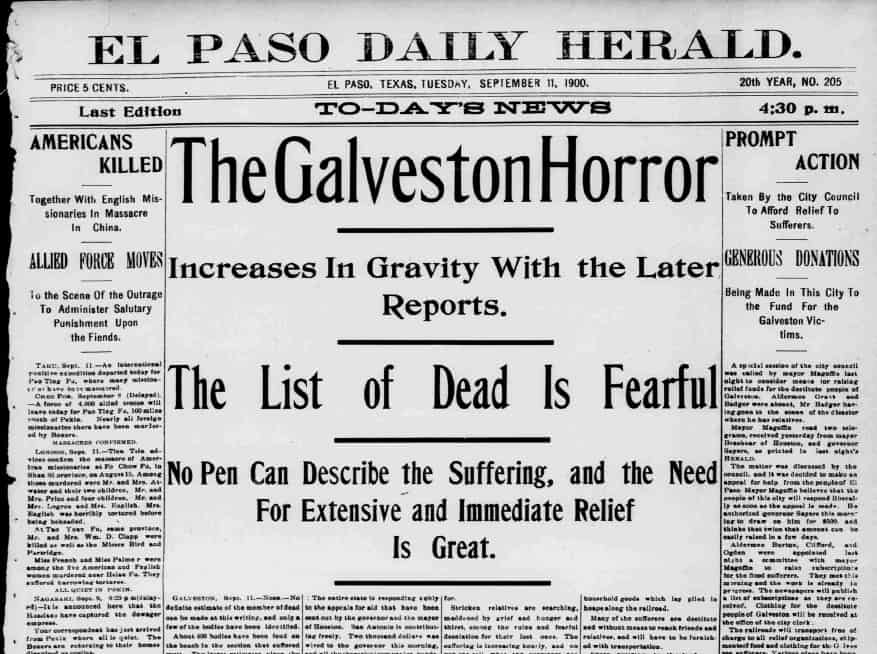 Newspaper headline from the el paso herald regarding Galveston hurricane