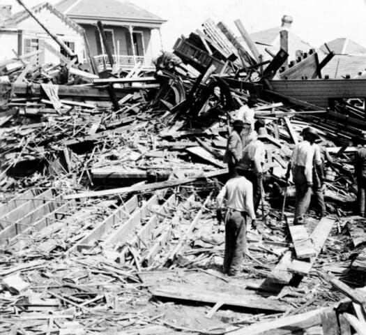 The search for bodies after the 1900 hurricane in Galveston