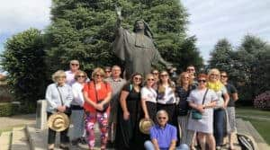 Our pilgrimage group with the statue of Mother Cabrini
