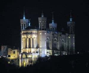Basilica of Our Lady of Fourviere at night