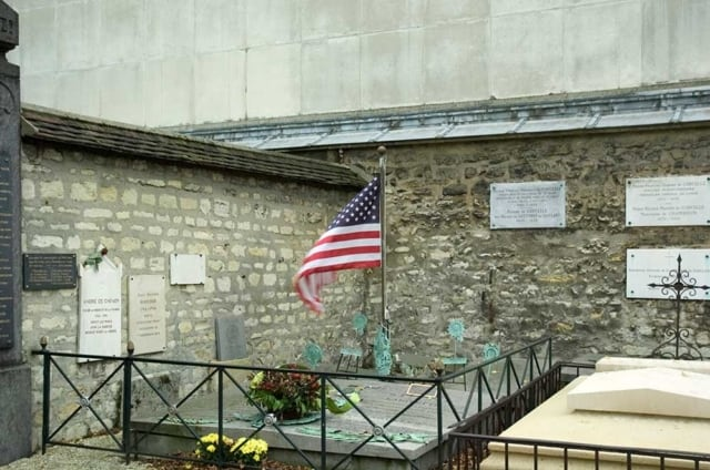 The tomb of the Marquis de Lafayette in Picpus Cemetery, Paris