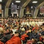 Pilgrims in the underground Basilica in Lourdes