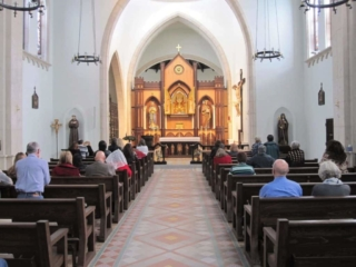 Interior of the chapel at Our Lady of Solitude Monastery in Tonopah, Arizona