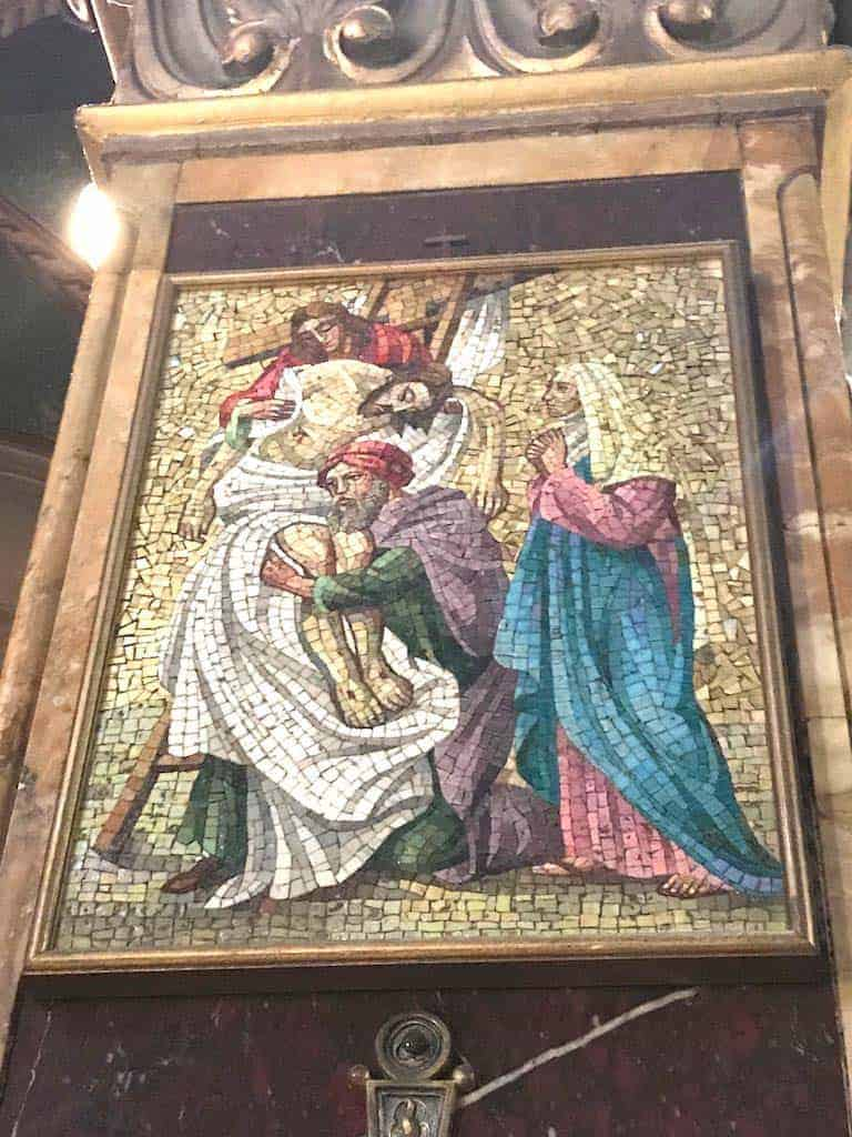Stations of the Cross in Church of St. Alphonsus Liguori in Rome