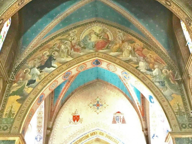 Closeup of the ceiling in the Church of St. Alphonsu Liguori in Rome