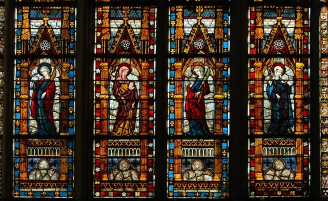stained glass windows in the Cathedral of Troyes