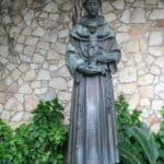 Statue of Saint Anthony on the River Walk in San Antonio