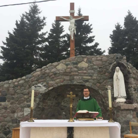 Outdoor Mass in the  Holy Angels Grotto Schreiber, Ontario