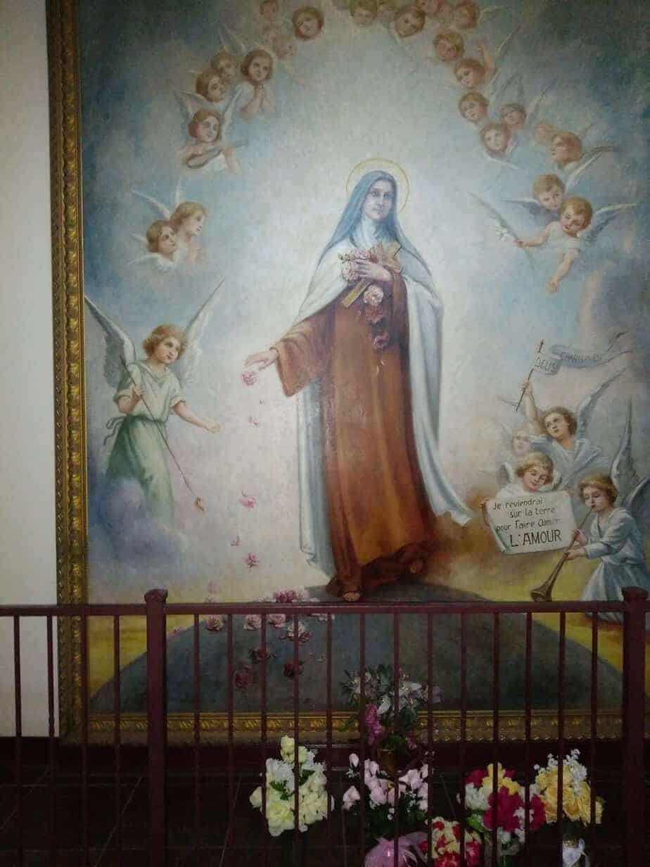 Painting done by the blood sister of Saint Therese of the Little flower at the Basilica in San Antonio