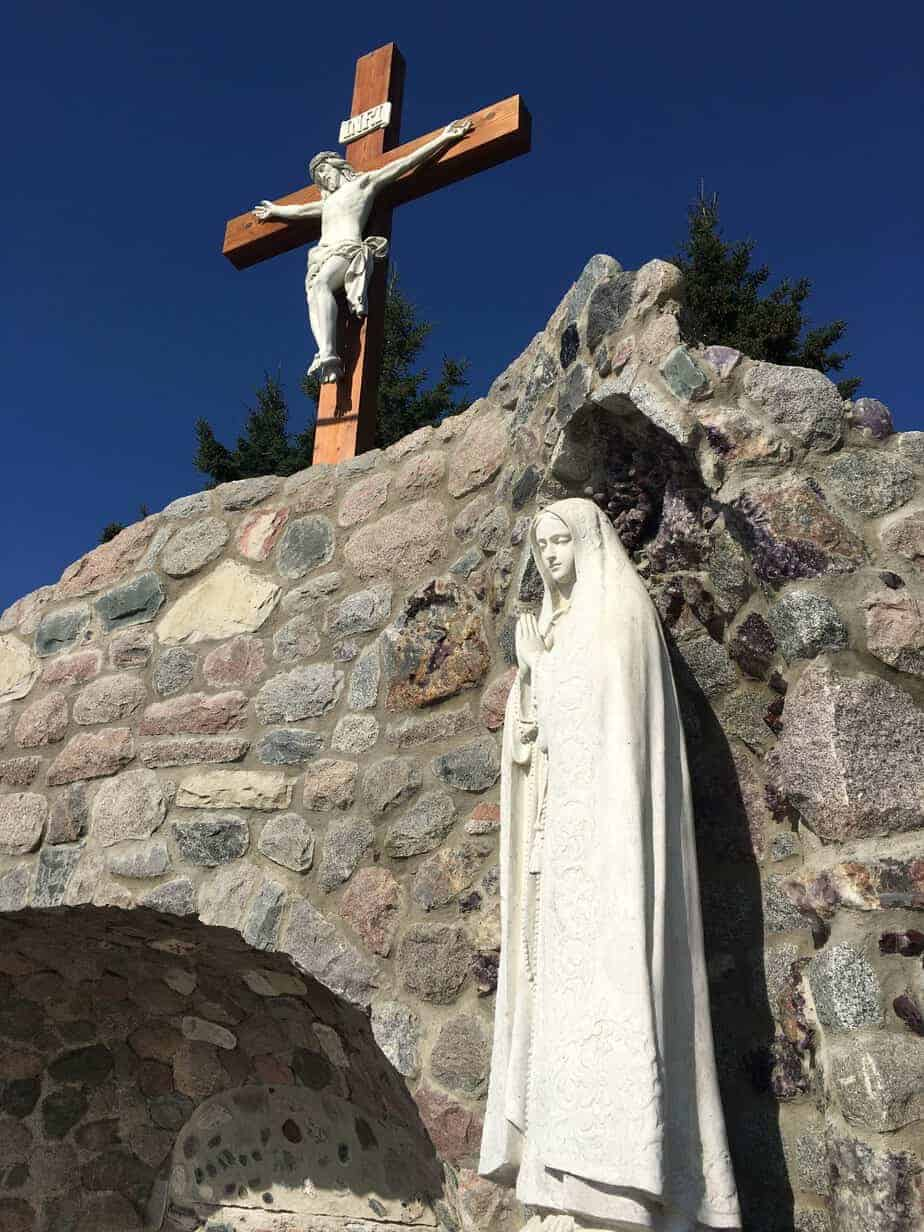 Crucifix & Blessed Mother at the Holy Angels Grotto Schreiber, Ontario