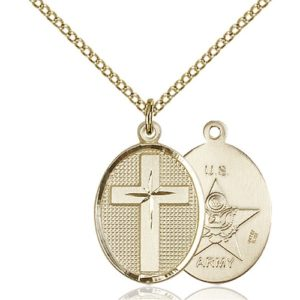 14kt Gold Filled Cross / Army Pendant