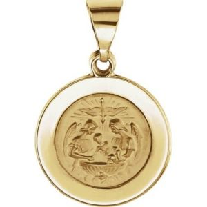 14kt Yellow Gold 14.75mm Round Hollow Baptismal Medal