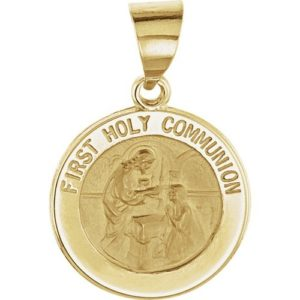 14kt Yellow Gold 14.75mm Round Hollow First Communion Medal