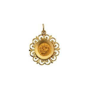 14kt Yellow Gold 18.5mm Round Baptismal Medal