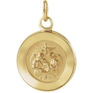 14kt Yellow Gold 18mm Round Baptismal Pendant Medal