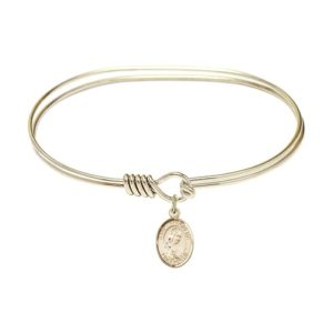 "Adult 7"" Oval Gold Plated Bangle Bracelet with St. Philomena Medal Charm"