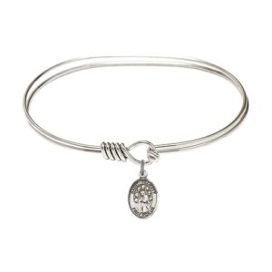 "Adult 7"" Oval Rhodium Plated Bangle Bracelet with St. Felicity Medal Charm"