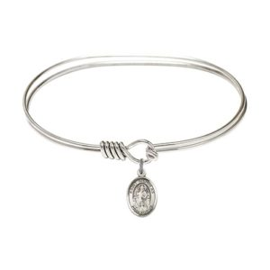 "Adult 7"" Oval Rhodium Plated Bangle Bracelet with St. Nicholas Medal Charm"